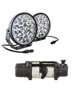 """Domin8r Xtreme 12,000lb Winch + Adventure Kings Domin8r Xtreme 9"""" LED Driving Lights (Pair)"""