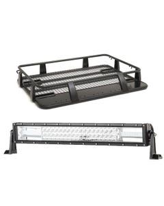 "Steel Single Cab Roof Rack + Domin8r 22"" LED Light Bar"