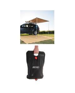 2 x 2.5m 2 in 1 Awning + Strip Light + Adventure Kings Solar Shower