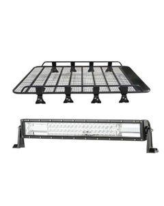 """Steel Tradie Roof Racks + Domin8r 22"""" LED Light Bar"""