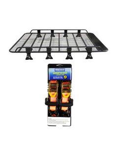 Steel Tradie Roof Racks + Hercules Heavy Duty 3m Ratchet Strap (2 pack)