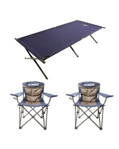 Adventure Kings Camping Stretcher Bed + 2x Throne Camping Chair