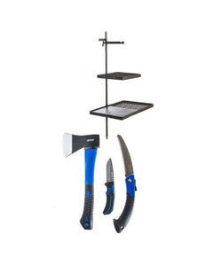 Adventure Kings Campfire Cooking Grill/BBQ Combo + Kings Three Piece Axe, Folding Saw and Knife Kit
