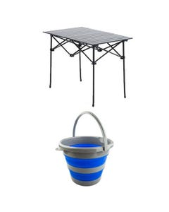 Adventure Kings Aluminium Roll-Up Camping Table + Collapsible 10L Bucket