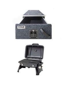 Titan Single Drawer 900mm +  Voyager Portable Gas BBQ