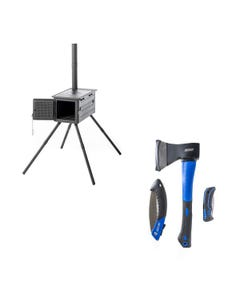Premium Camp Oven Stove + Three Piece Axe, Folding Saw and Knife Kit