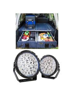 """Titan Rear Drawer with Wings suitable for Toyota Landcruiser 200 Series + Kings Lethal 9"""" Premium LED Driving Lights (Pair)"""
