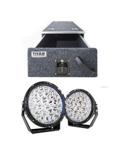 "Titan Single Drawer 900mm + Kings Lethal 9"" Premium LED Driving Lights (Pair)"