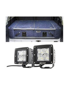 """Titan Rear Drawer with Wings suitable for Toyota Landcruiser 100/105 Series (GX/GXL Sept 1998-2005 No Air Con in rear) + 3"""" LED Work Light - Pair"""