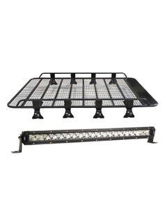 "Steel Tradie Roof Racks + 20"" LETHAL MKIII Slim Line LED Light Bar"