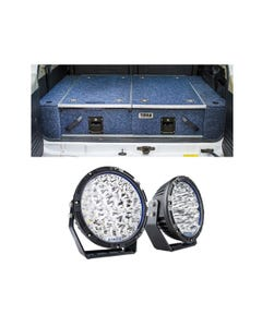 """Titan Rear Drawer with Wings suitable for Toyota Landcruiser 100/105 Series (GX/GXL Sept 1998-2005 No Air Con in rear) + Kings Lethal 9"""" Premium LED Driving Lights"""
