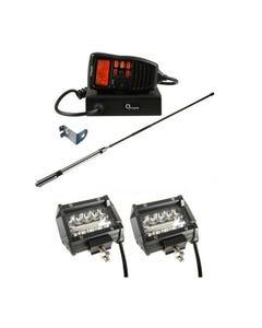"Oricom UHF380PK In-Car 5W CB Radio + Adventure Kings 4"" LED Light Bar"
