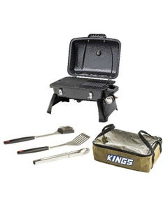 Gasmate Voyager Portable BBQ + BBQ Tool Set + Clear Top Canvas Bag